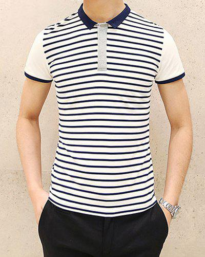3703ffda627 Dresslily promotion  Stylish Turndown Collar Slimming Color Block Stripe  Splicing Short Sleeve Polyester Polo T-Shirt For Men