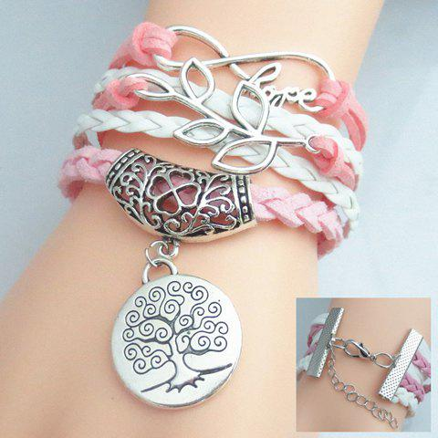 Letter Leaf Tree Pattern Weaved Layered Friendship Bracelet - COLORMIX