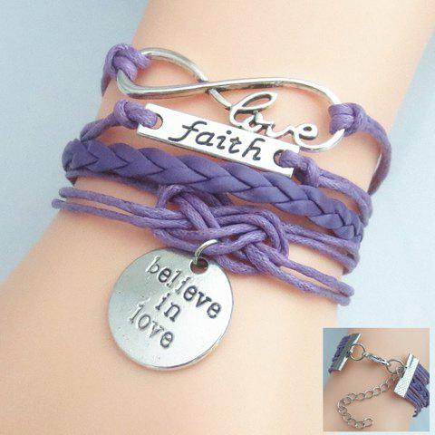 Infinity Engraved Letter Friendship Bracelet - PURPLE 16CM +5.5CM