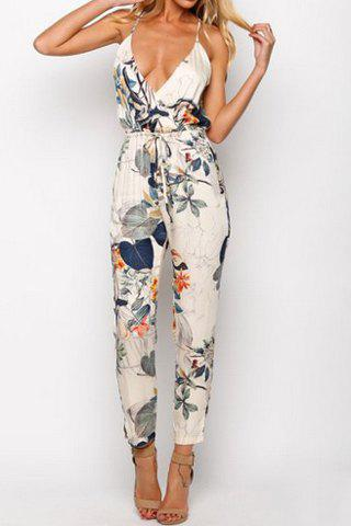 Stylish Spaghetti Strap Floral Print Backless Jumpsuit For Women ...