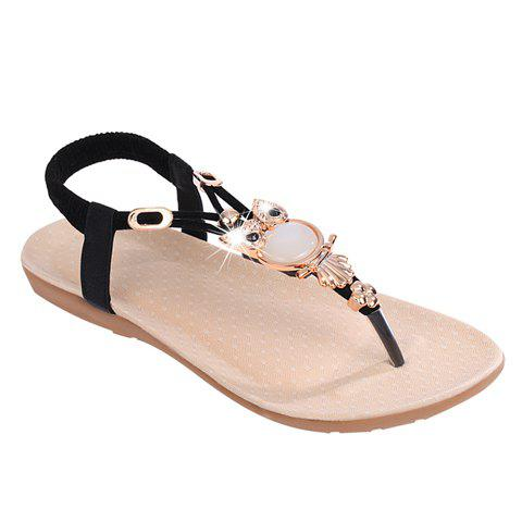 Elegant Elastic and Flip Flop Design Sandals For Women - BLACK 37