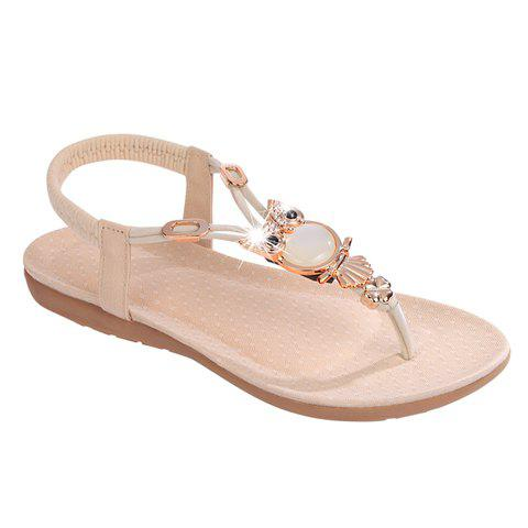 Elegant Elastic and Metallic Design Women's Sandals