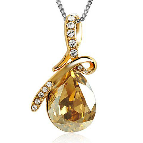 Sparking Waterdrop Rhinestoned Pendant Necklace - CHAMPAGNE