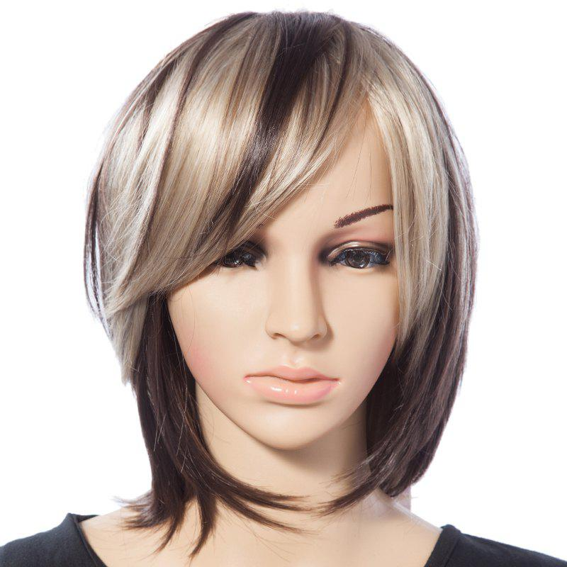Fashionable Mixed Color Straight Synthetic Heat Resistant Tilt Womens Short Wig With Side Bang