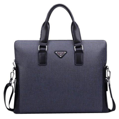 Concise PU Leather and Logo Design Briefcase For Men - BLUE
