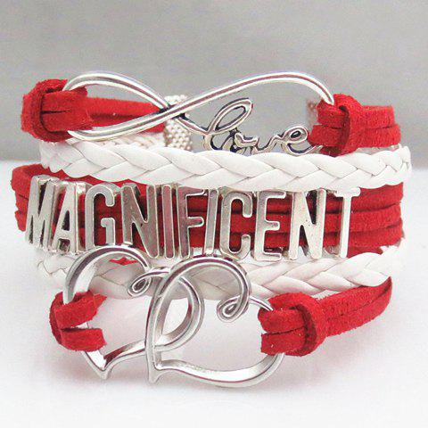 Sweet Openwork Heart Letter Braided Layered Friendship Bracelet For Women - RED