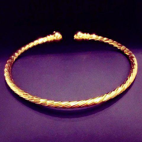 Simple Round Gold Bracelet For Women - GOLDEN