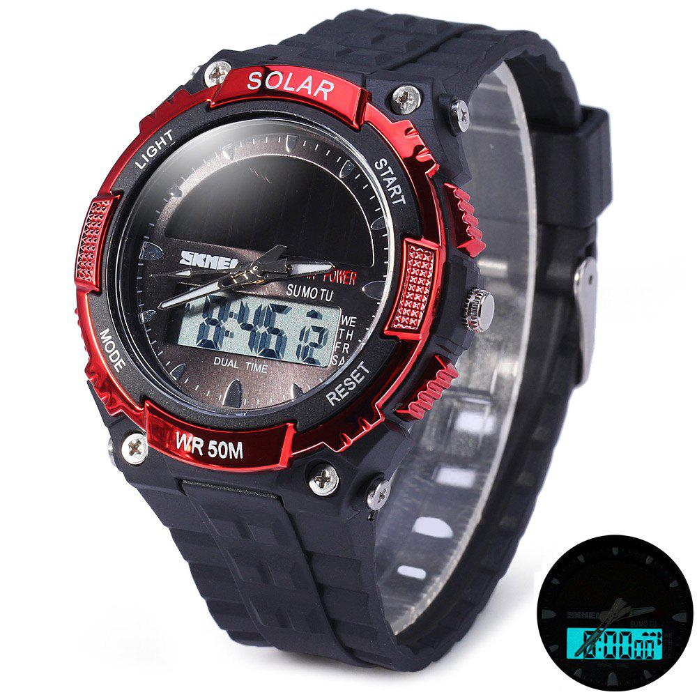 Skmei 1049 Solar Power Army LED Watch Date Week Dual-movt 5ATM Water Resistant Military Wristwatch for Sports skmei 1064 solar power army led watch date day alarm dual movt water resistant military wristwatch for sports