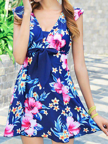 Fashionable Floral Print One-Piece Slimming Women's Swimsuit - PURPLISH BLUE 2XL