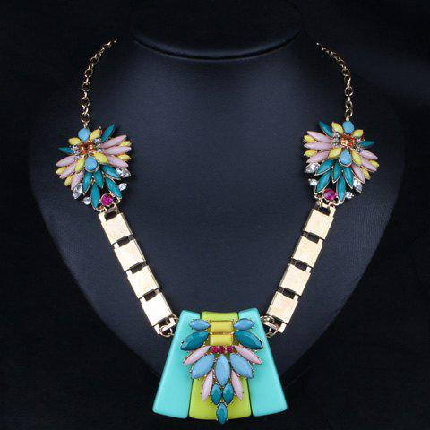 Ethnic Rhinestone Faux Gem Colored Necklace For Women - BLUE