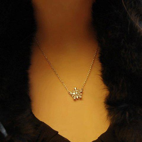 Stylish Snowflake Shape Zircon Decorated Women's Necklace - SILVER