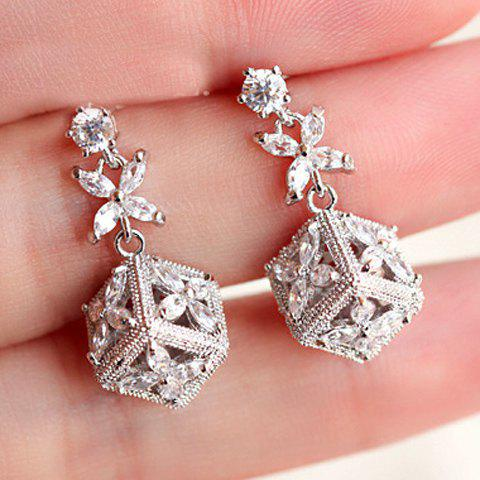 Pair of Trendy Leaf Clover Shape Hollow Out Zircon Decorated Women's Earrings - WHITE
