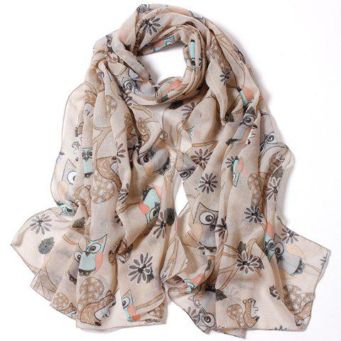 Chic Cartoon Owl Flower Tree Branch Pattern Women's Scarf - RANDOM COLOR