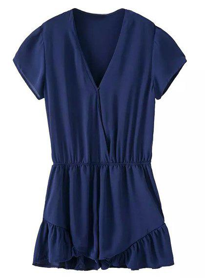 Brief Solid Color V-Neck Short Sleeve Chiffon Romper For Women