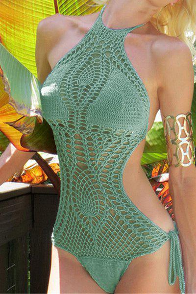 Sexy Halter Knitted Hollow Out One-Piece Swimsuit For Women - GREEN L
