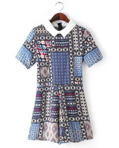 Stylish Short Sleeve Flat Collar Retro Print Women's Romper - COLORMIX XL