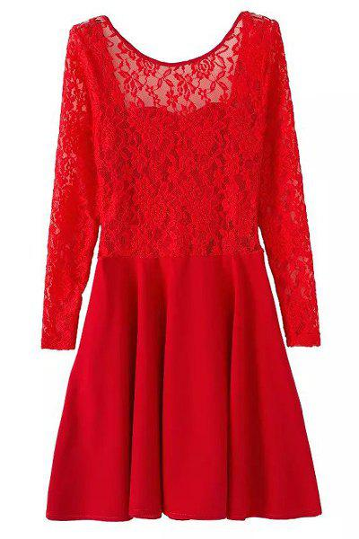 Sexy Long Sleeve Scoop Neck Bowknot Embellished Backless Women's Dress - RED XL