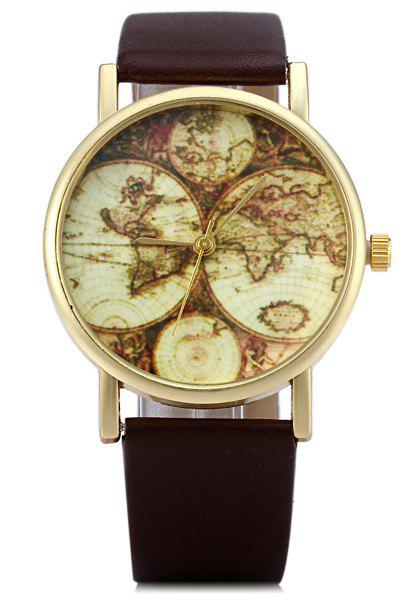 Vintage Map Print Watch For Women - COFFEE