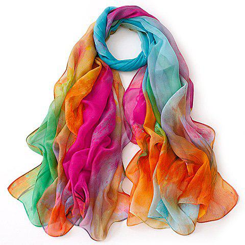 Chic Grove Painting Color Block Women's Gauze Scarf - ROSE