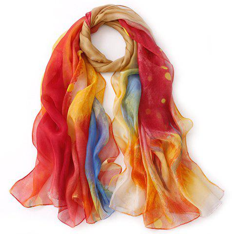 Chic Grove Painting Color Block Gauze Scarf For Women