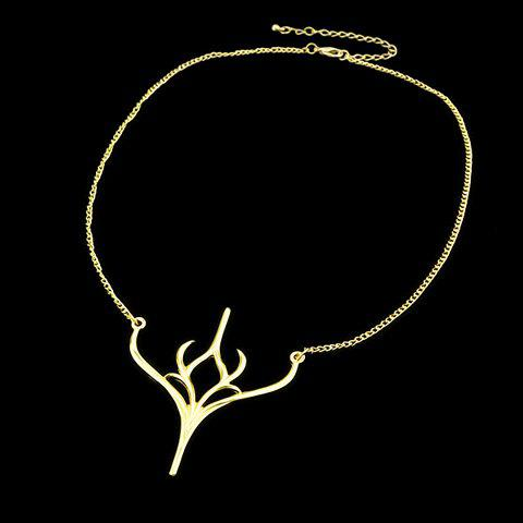 Chic Deer Horn Necklace For Women - GOLDEN