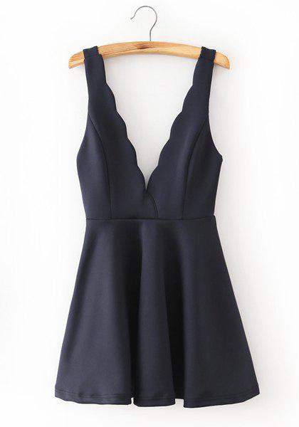 Stylish Sleeveless Plunging Neck Solid Color Flounced Backless Women's Dress - CADETBLUE S