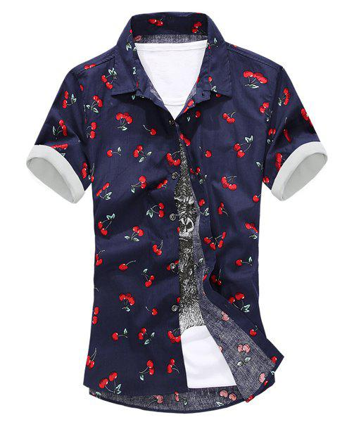 2018 Modern Style Solid Color Turn-down Collar Cherry Print ...