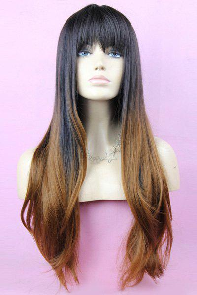 Layered Black Gradient Light Brown Long Straight Synthetic Full Bang Women's Kanekalon Wig - OMBRE 2