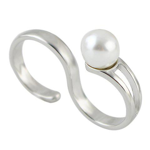 Chic Faux Pearl Letter S Shape Design Ring For Women - SILVER ONE-SIZE