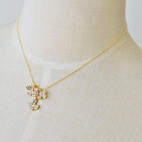 Delicate Rhinestone Flower Pendant Design Necklace For Women - GOLDEN