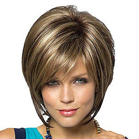 Side Bang Trendy Dark Brown Mixed Blonde Short Straight Charming Heat Resistant Synthetic Women's Capless Wig -  COLORMIX
