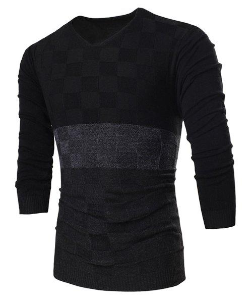 Fashion V-Neck Slimming Color Block Checked Design Long Sleeve Polyester Sweater For Men - BLACK L