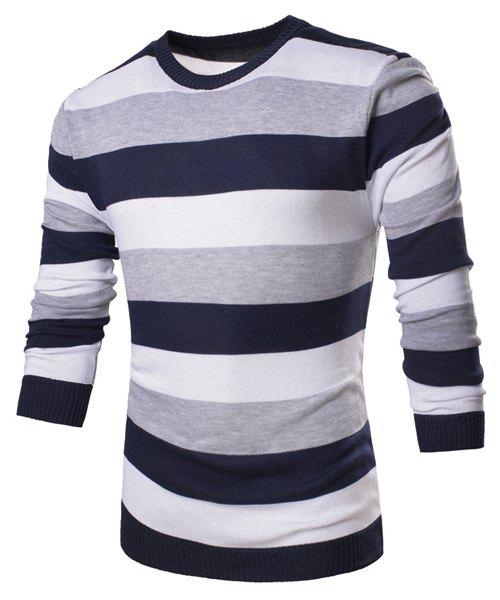 Trendy Color Block Broad Stripes Round Neck Long Sleeve Slimming Polyester Men's Sweater - CADETBLUE M