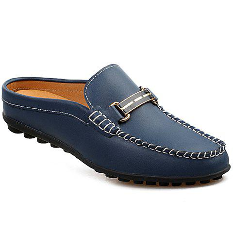 Fashion Stitching and Metallic Design Men's Loafers - BLUE 40