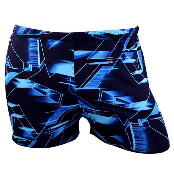 Trendy Lace-Up Color Block Abstract Print Polyester+Spandex Boxers Swimming Trunks For Men - BLUE L