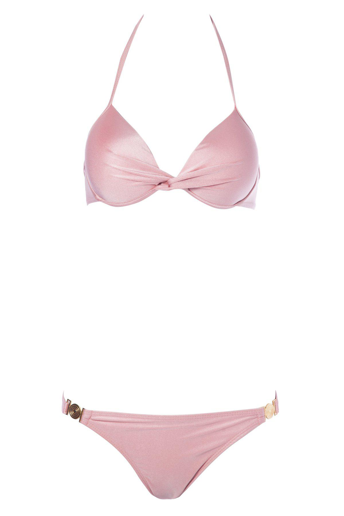 Sexy Push-Up Solid Color Bikini Halter femmes - ROSE PÂLE M