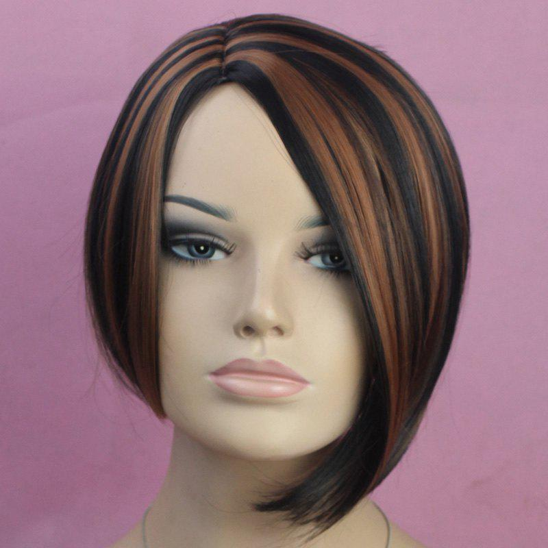 Vogue Side Bang Kanekalon Short Mixed Color Straight Fluffy Women's Synthetic Bob Wig vogue side bang kanekalon short mixed color straight fluffy synthetic bob wig for women