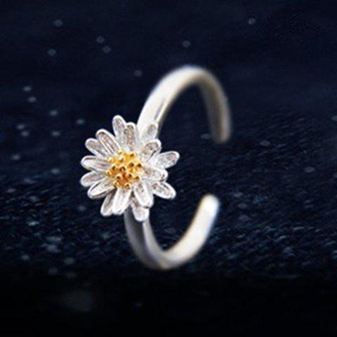 Trendy Daisy Shape Cuff Ring For Women - SILVER ONE-SIZE