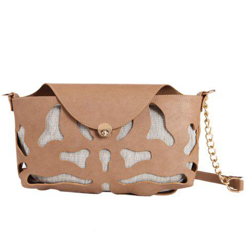 Sweet Metallic and Hollow Out Design Crossbody Bag For Women - KHAKI