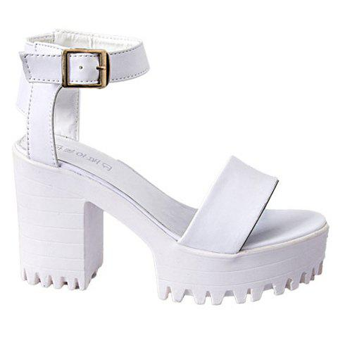 Fashionable Chunky Heel and Solid Color Design Women's Sandals