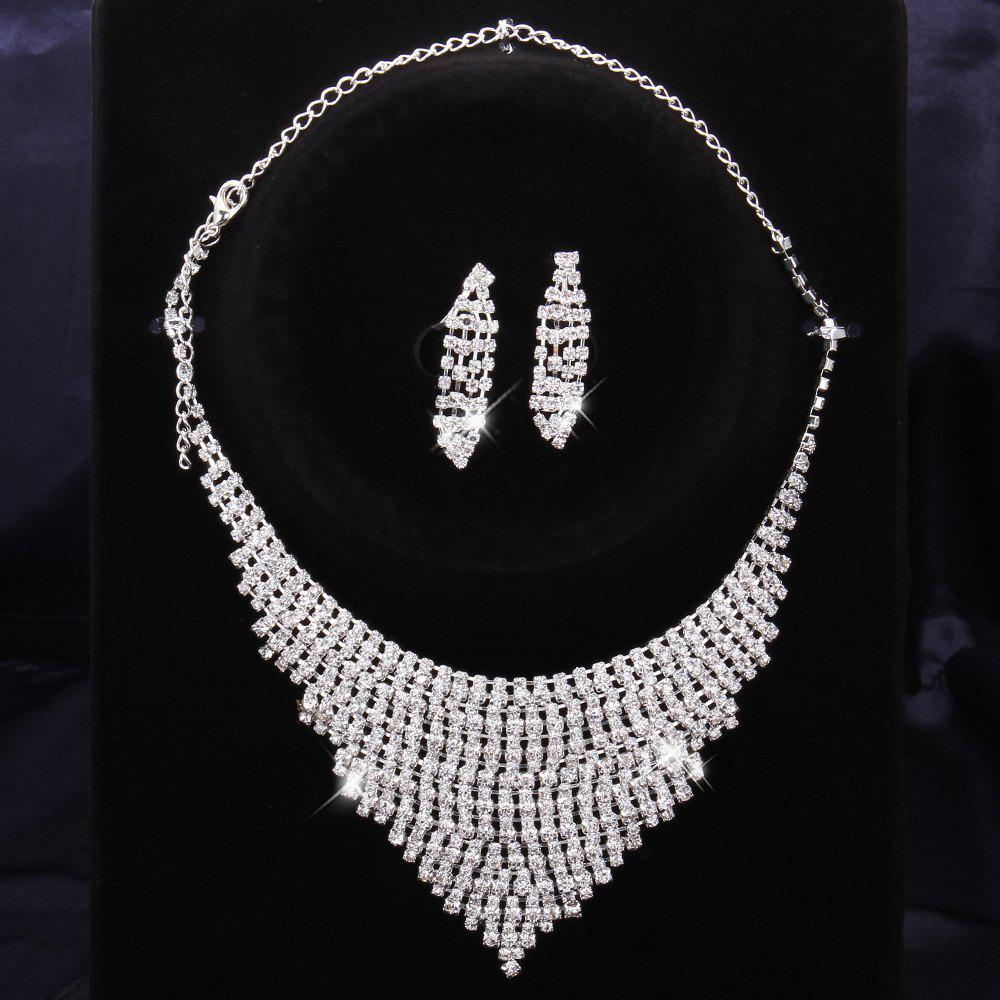 A Suit of Chic Rhinestone Embellished Layered Necklace And Earrings - WHITE N:15CM+19CM,E:4.4X1.1CM