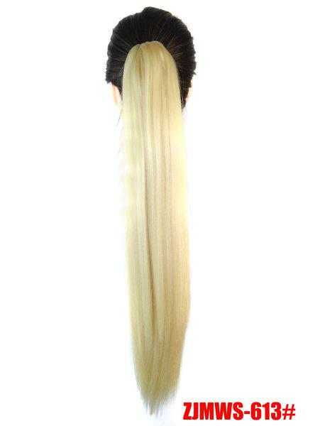 Silky Heat Resistant Long Rice White Straight Ponytail Women's Claw Clip In Hair Extension