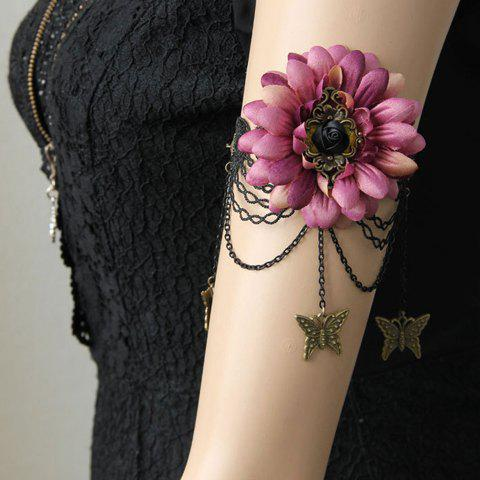 Characteristic Floral and Butterfly Shape Lace Decorated Women's Body Jewelry - PINK