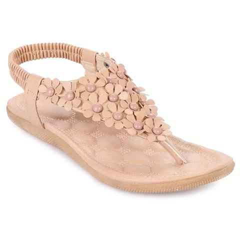 Gorgeous Elastic and Flowers Design Sandals For Women - BEIGE 38
