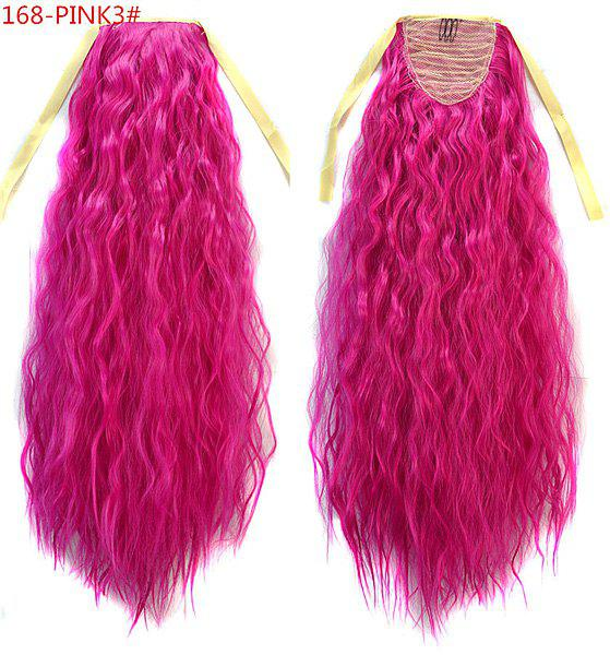 Impressive Rose Red Long Yaki Straight Fluffy Women's Drawstring Ponytail Hair Extension - ROSE MADDER