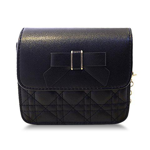 Sweet Chain and Bow Design Crossbody Bag For Women - BLACK