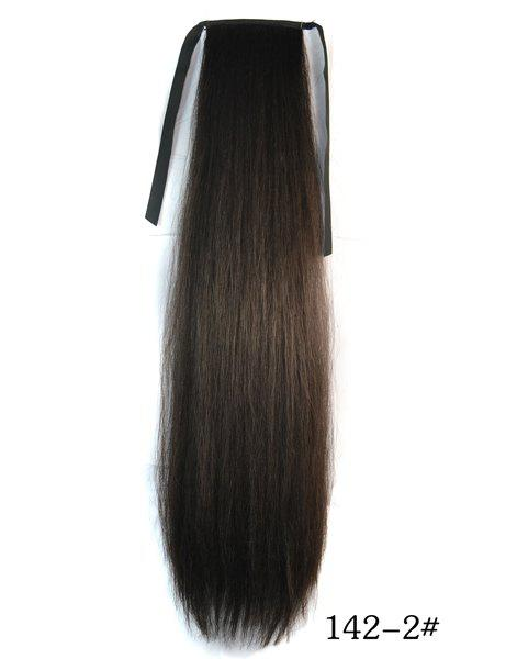 Trendy Long Natural Black Yaki Straight Afro Ponytail Women's Drawstring Hair Extension