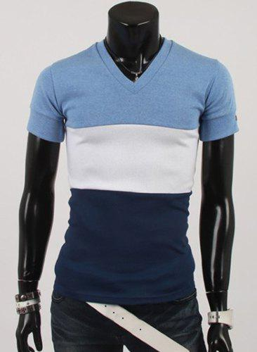 Classic Color Splicing V-Neck PU Leather Embellished Slimming Short Sleeves Men's T-Shirt - BLUE M