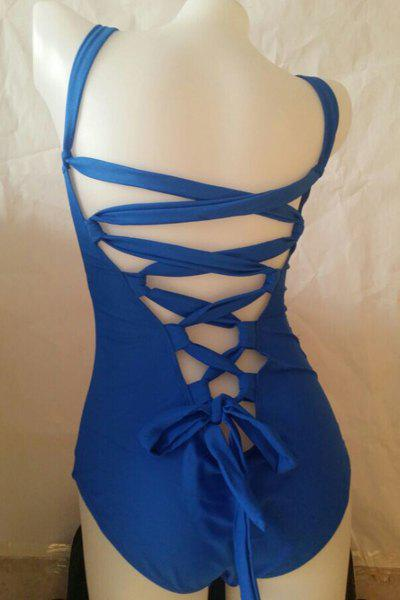 Sexy Spaghetti Strap Push Up Solid Color Bandage One-Piece Women's Swimwear - BLUE L