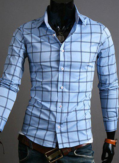 Casual Slimming Exquisite Checked Print Turn-down Collar Long Sleeves Men's Shirt - LIGHT BLUE L